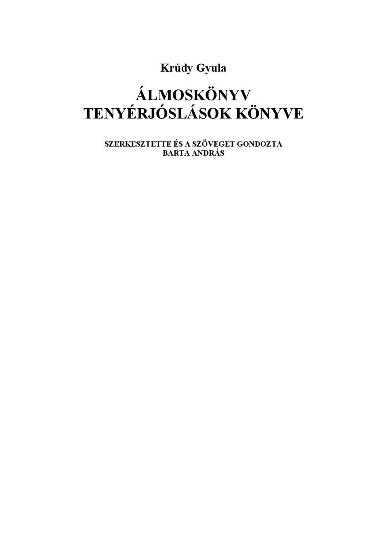 Krúdy Gyula: Álmoskönyv - Tenyérjóslások könyve